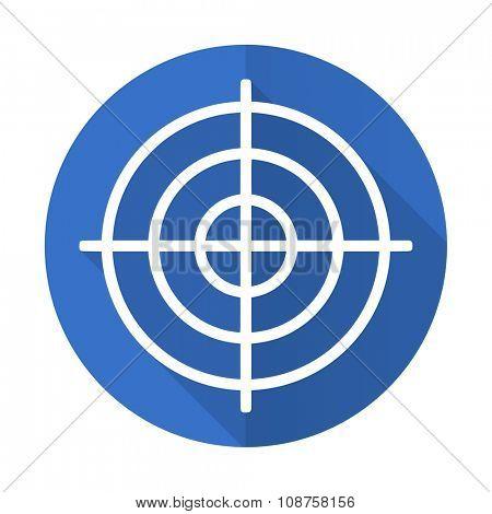 target blue web flat design icon on white background