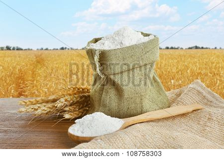 Wheat flour in burlap bag  on field background
