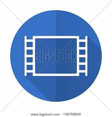 movie blue web flat design icon on white background