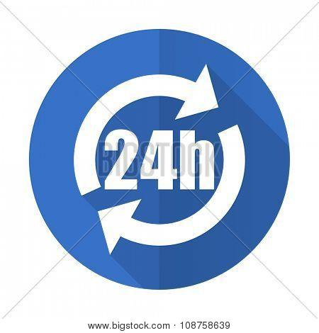 24h blue web flat design icon on white background