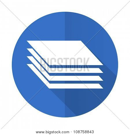 layers blue web flat design icon on white background