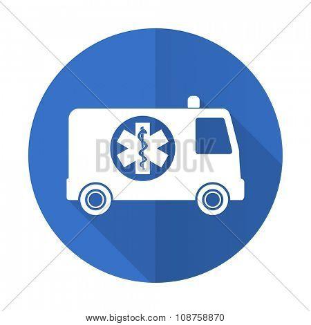 ambulance blue web flat design icon on white background