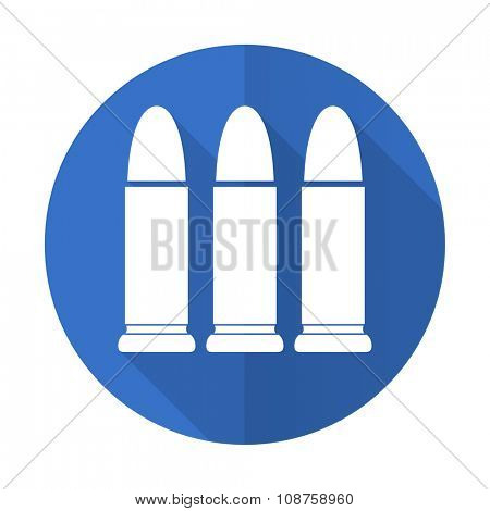 ammunition blue web flat design icon on white background