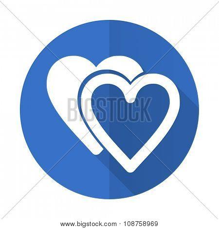 love blue web flat design icon on white background