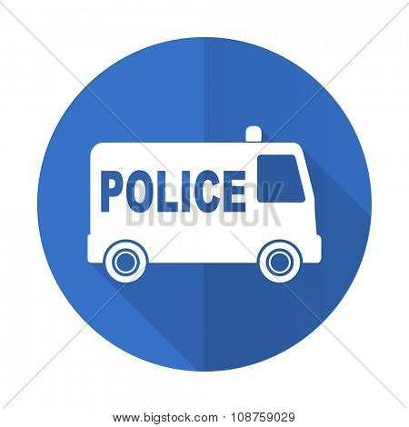 police blue web flat design icon on white background