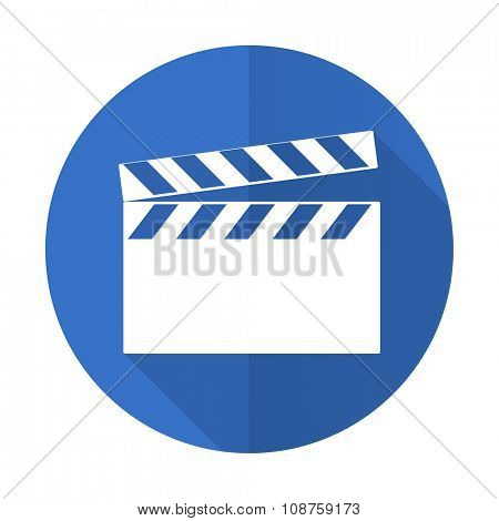 video blue web flat design icon on white background