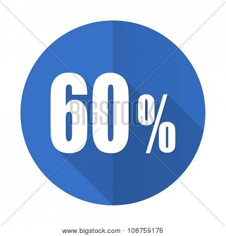 60 percent blue web flat design icon on white background