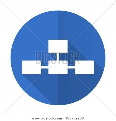 database blue web flat design icon on white background