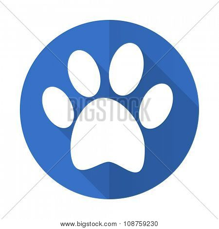 foot blue web flat design icon on white background