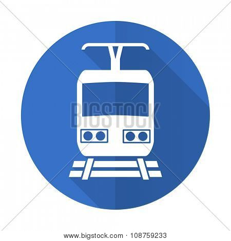 train blue web flat design icon on white background