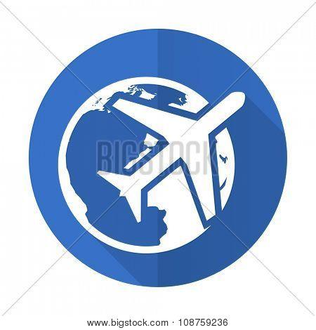 travel blue web flat design icon on white background