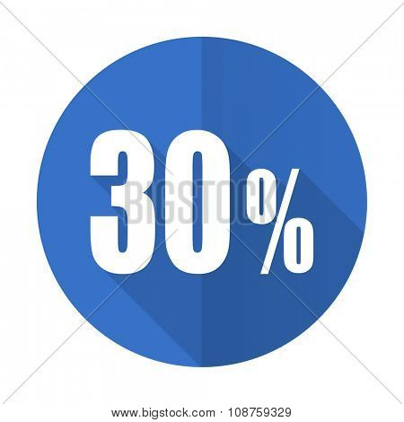 30 percent blue web flat design icon on white background