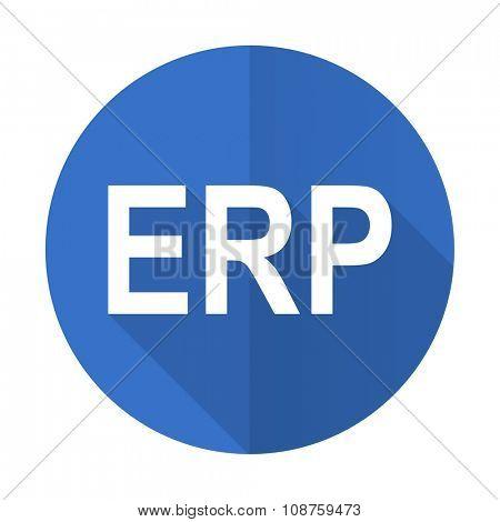 erp blue web flat design icon on white background