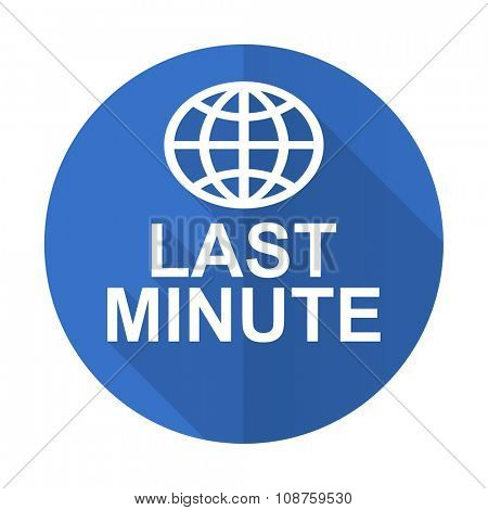 last minute blue web flat design icon on white background