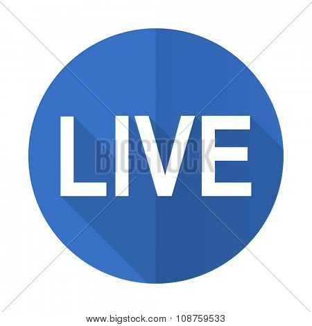live blue web flat design icon on white background