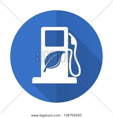 biofuel blue web flat design icon on white background