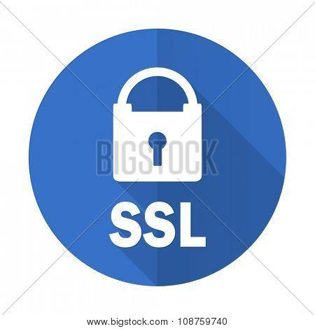 ssl blue web flat design icon on white background