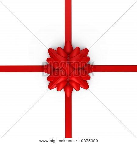A red bow with ribbons - a 3d image