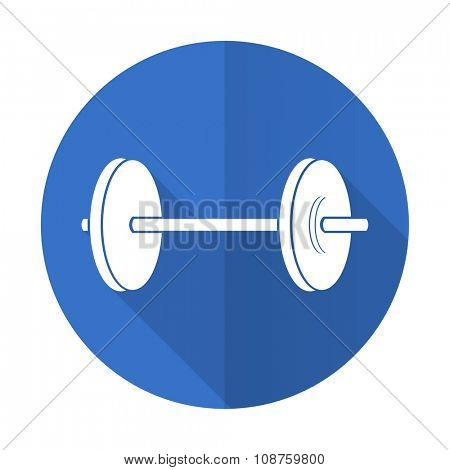 fitness blue web flat design icon on white background