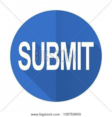 submit blue web flat design icon on white background