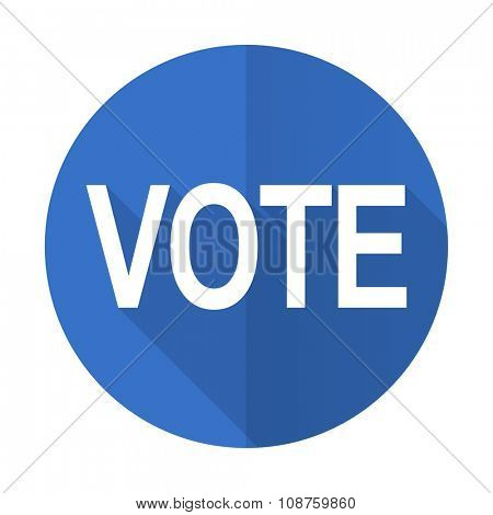 vote blue web flat design icon on white background