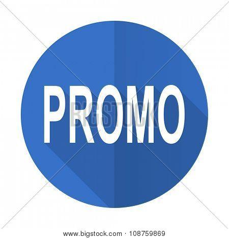 promo blue web flat design icon on white background