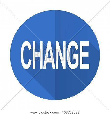 change blue web flat design icon on white background