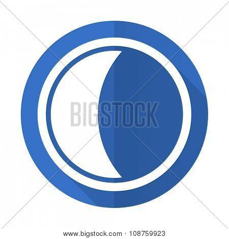 moon blue web flat design icon on white background