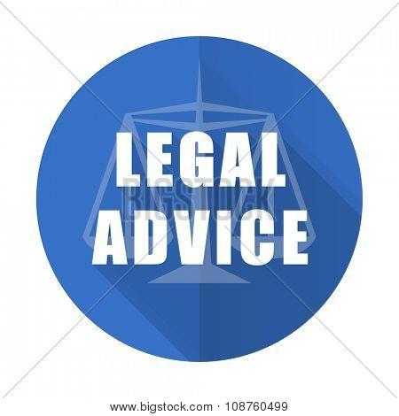 legal advice blue web flat design icon on white background