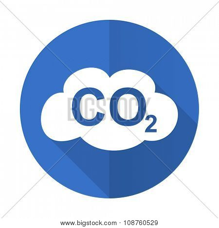 carbon dioxide blue web flat design icon on white background