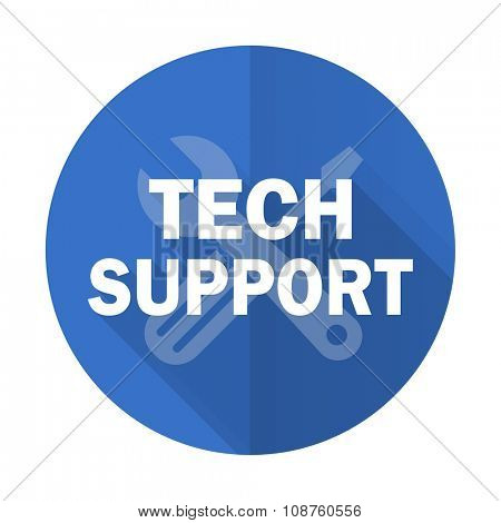 technical support blue web flat design icon on white background