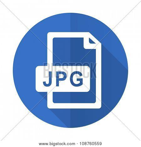 jpg file blue web flat design icon on white background