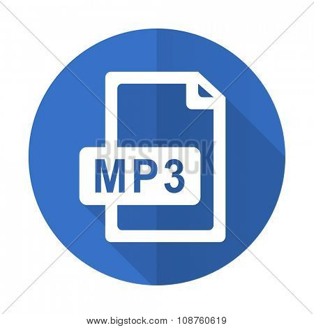 mp3 file blue web flat design icon on white background