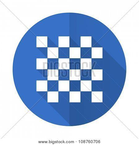 chess blue web flat design icon on white background