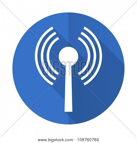 wifi blue web flat design icon on white background