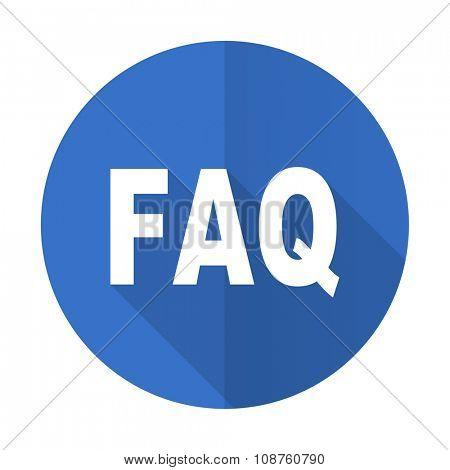 faq blue web flat design icon on white background