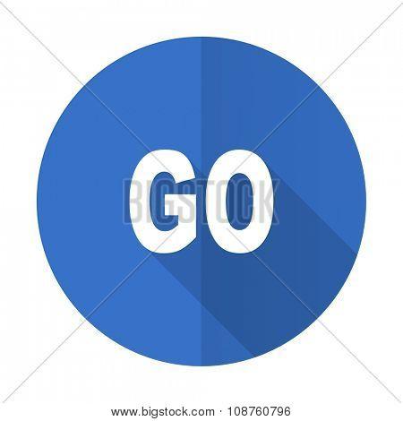 go blue web flat design icon on white background