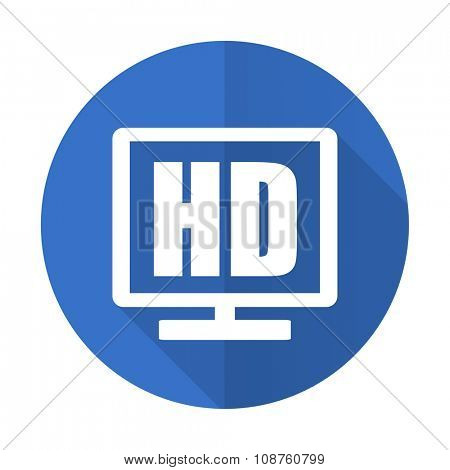 hd display blue web flat design icon on white background