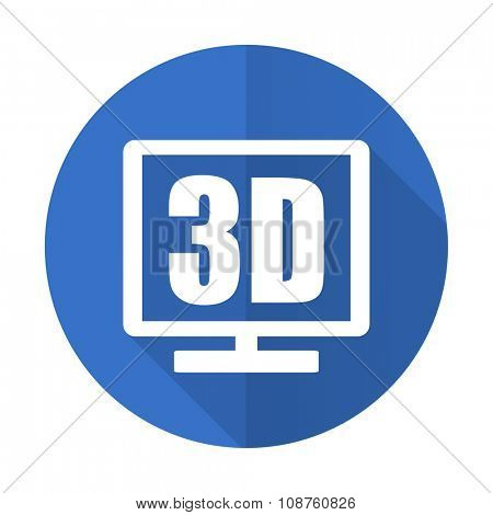 3d display blue web flat design icon on white background
