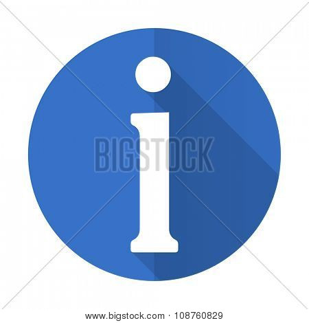 information blue web flat design icon on white background