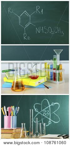 Chemistry lesson in school with test-tubes
