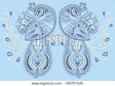 ethnic folk art of peacock bird with flowering branch design