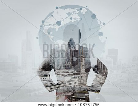 Double Exposure Of Businessman Stands Successfully On Building Top Looking Towards The Future