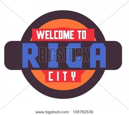 Riga in Latvia is Beautiful city to visit on holiday, vector cartoon illustration