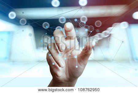 Businessman Hand Working With New Modern Computer Show Social Network Structure And Bokeh Exposure