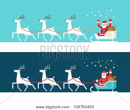 Santa Claus on Sleigh and his Reindeers