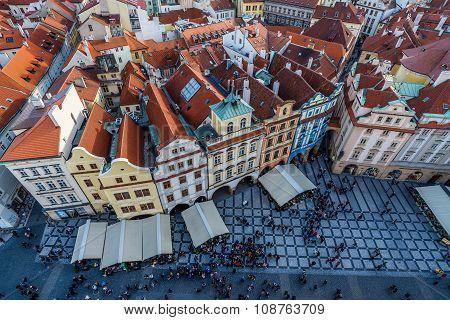Prague, Czech - November 15, 2015 - Bird's eye view on the old houses of Prague