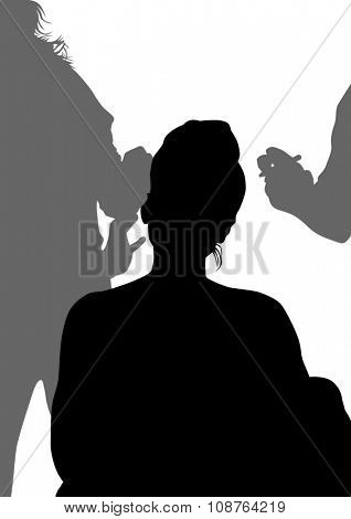 Silhouettes of young girls in beauty salon
