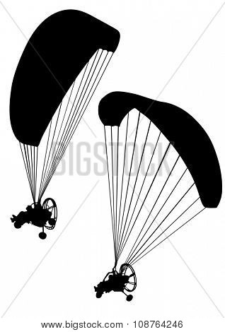 Sportsman on a motorized paraglider on a white background
