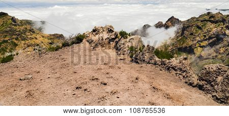 Edge Of Steep, Being Above Clouds, In The Mountains Of Madeira
